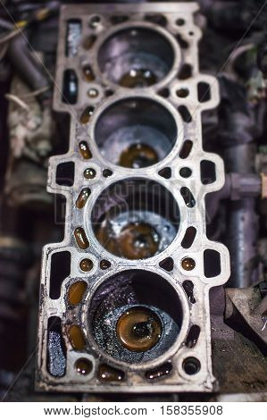 Open old block on four cylinder engine.