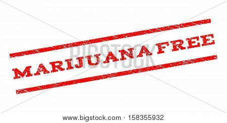 Marijuana Free watermark stamp. Text caption between parallel lines with grunge design style. Rubber seal stamp with dust texture. Vector red color ink imprint on a white background.