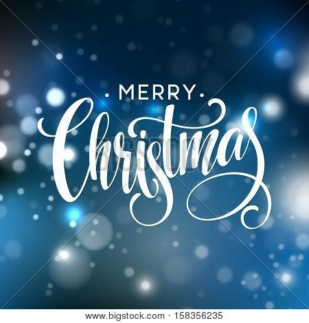 Christmas lettering on Snowflake sparkle background. Vector illustration EPS10