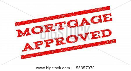 Mortgage Approved watermark stamp. Text tag between parallel lines with grunge design style. Rubber seal stamp with scratched texture. Vector red color ink imprint on a white background.