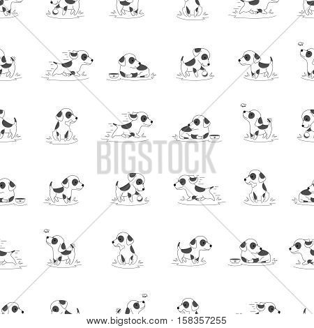 Seamless vector pattern with dog. Happy dog running and playing. Background with young dog illustration