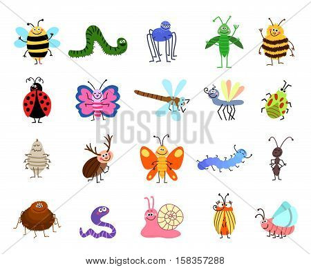 Funny bugs. Vector cute bugs and insects isolated on white background. Set of characters insects bee and caterpillar, spider and butterfly illustration