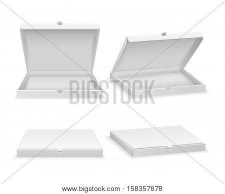 Empty pizza box isolated on white. Open carton box, closed white box for fast food. Vector illustration