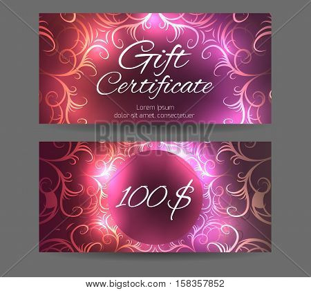 Template gift certificate for yoga studio spa center massage parlor beauty salon. Abstract vintage pattern with sparkles
