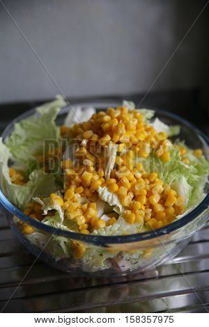 Vegetable salad with corn. Fresh, wholesome, natural food