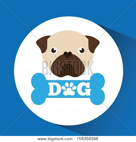 lovely head puppy pug dog vector illustration eps 10