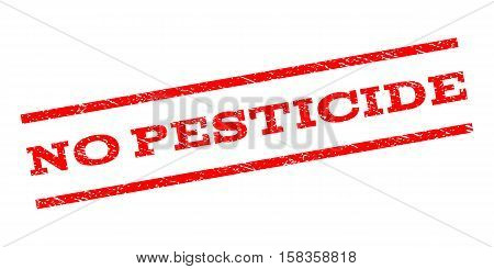 No Pesticide watermark stamp. Text tag between parallel lines with grunge design style. Rubber seal stamp with scratched texture. Vector red color ink imprint on a white background.