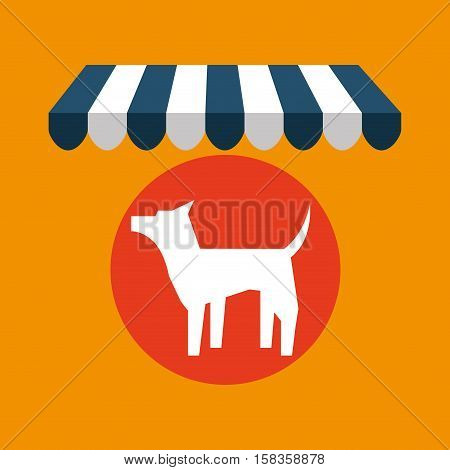 pet shop with dog silhouette vector illustration eps 10