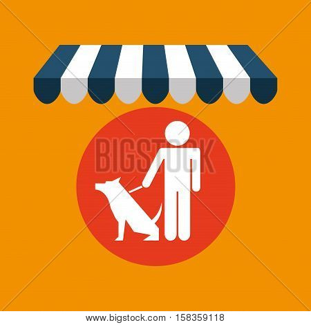 pet shop with man and dog vector illustration eps 10
