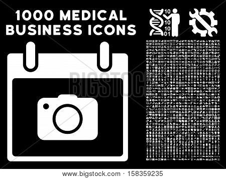 White Photo Camera Calendar Day vector icon with 1000 medical business pictograms. Set style is flat symbols, white color, black background.