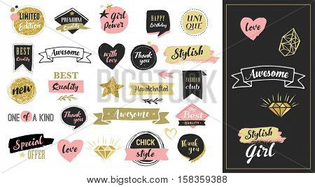 Fashion patch badges and stickers, labes and sale tags. Gold hearts, speech bubbles, stars and other elements. Vector element, backgrounds. Set of stickers, pins, patches, chic style
