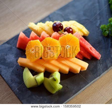 Fruit Plate on slate on a table