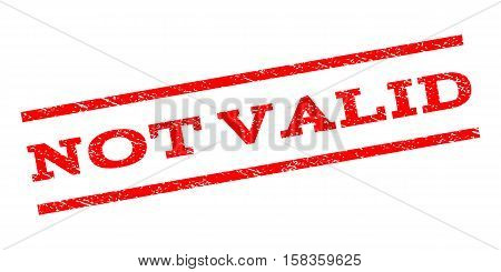Not Valid watermark stamp. Text tag between parallel lines with grunge design style. Rubber seal stamp with unclean texture. Vector red color ink imprint on a white background.