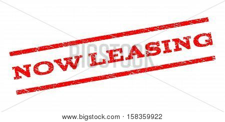 Now Leasing watermark stamp. Text caption between parallel lines with grunge design style. Rubber seal stamp with unclean texture. Vector red color ink imprint on a white background.