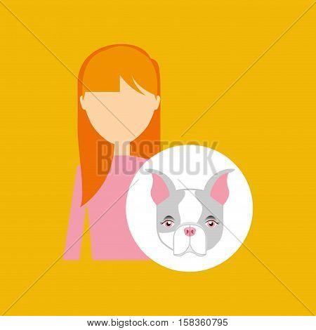 character girl pet french bulldog graphic vector illustration eps 10