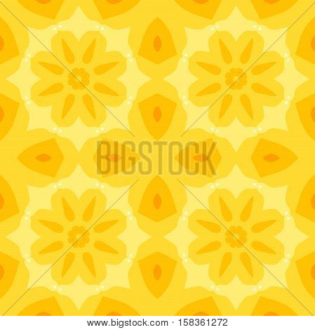 Seamless simple texture with a yellow flower and stylised orange leaves pattern. Suitable for print on textiles bed sheets tablecloths wrapping paper kitchen tiles or as a mobile or PC background.