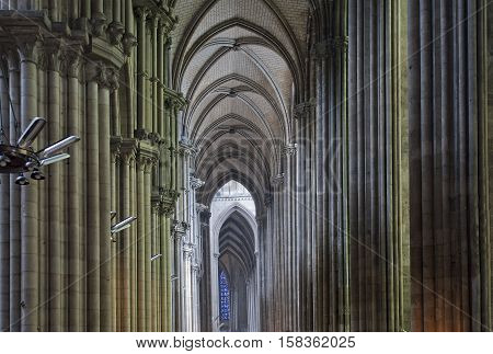 France- May 4: Gothic Cathedral  On May 4, 2012 In Rouen, France. Interior Of The Gothic Cathedral I