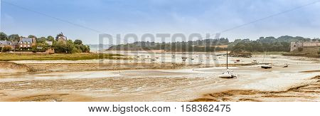 Panorama of Brittany Bretagne coastline at low tide, France