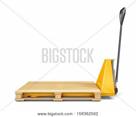 Pallet jack and wooden pallet on white background. 3D rendering