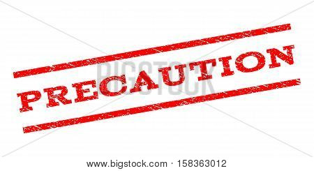 Precaution watermark stamp. Text caption between parallel lines with grunge design style. Rubber seal stamp with dust texture. Vector red color ink imprint on a white background.