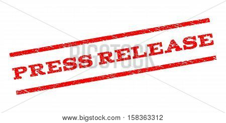 Press Release watermark stamp. Text caption between parallel lines with grunge design style. Rubber seal stamp with scratched texture. Vector red color ink imprint on a white background.