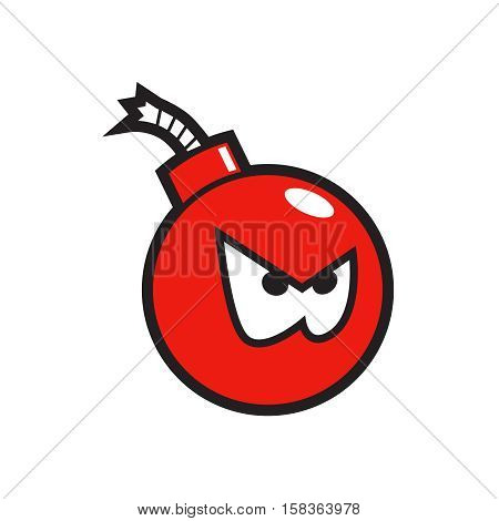 Red angry bomb sticker. Vector illustration eps 10