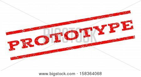 Prototype watermark stamp. Text caption between parallel lines with grunge design style. Rubber seal stamp with unclean texture. Vector red color ink imprint on a white background.
