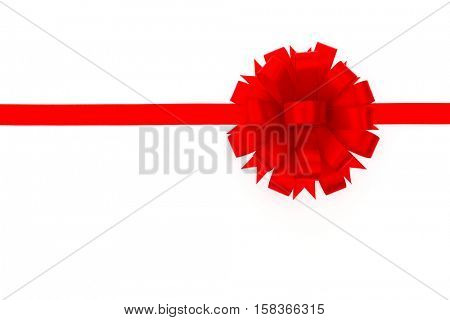 Shiny red ribbon on white background with copy space
