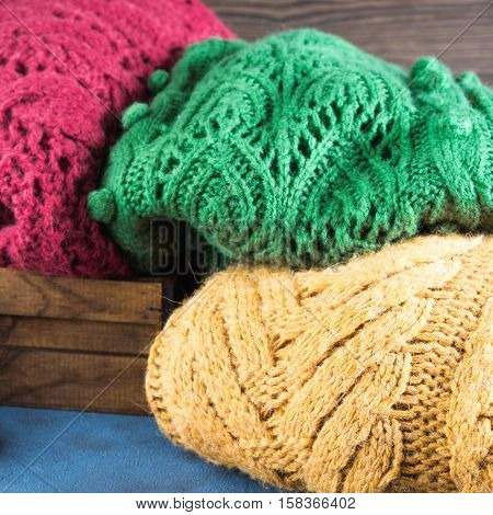 Winter Womans Woolen Sweaters. Knitted Clothing. Square