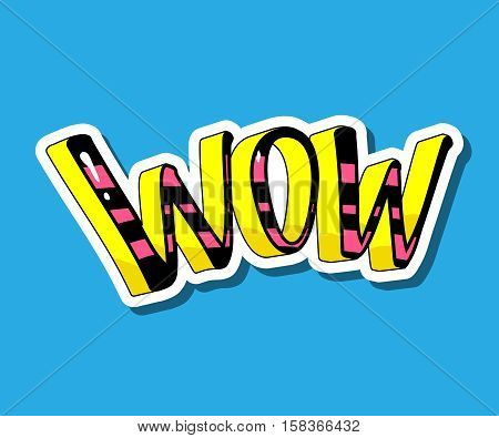 Wow word isolated on blue background fashion 80s 90s comics retro style