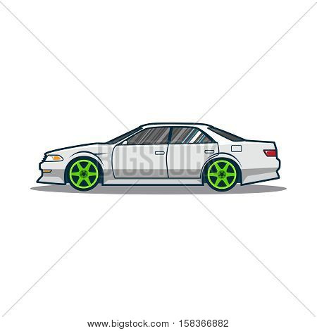 Tuning japan car. Side view. Vector illustration eps 10