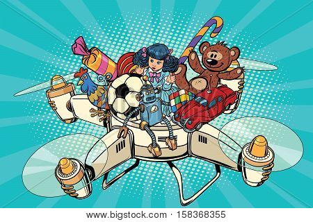Toys delivery drones, pop art retro vector illustration. Gifts and sales. Quad copter technology the courier mail