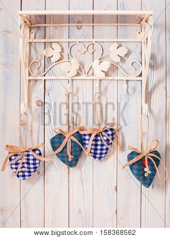 Valentine vintage decor - blue gingham hearts on the hooks