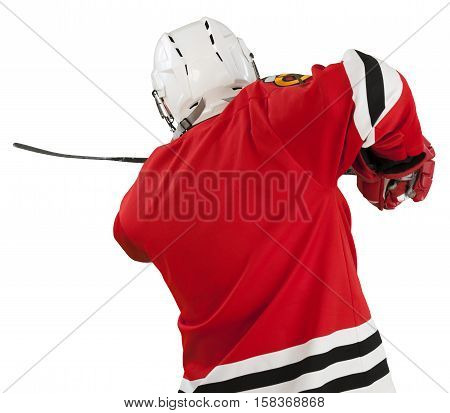 Portrait of Ice Hockey Goalie Isolated on Transparent Background, back view