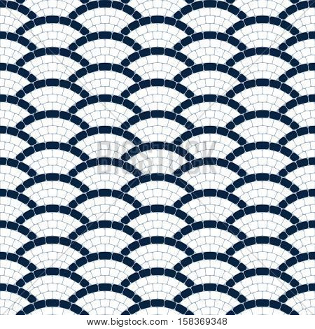 Navy blue and white geometric wave stone mosaic seamless pattern, vector texture
