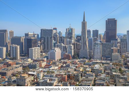 Aerial view of San Francisco skyline, Financial District and Transamerica Pyramid from the top of Coit Tower on sunny day, California, United States. Coit Tower is atop Telegraph Hill.