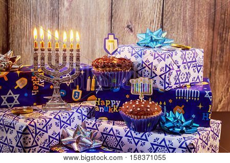 Jewish Holiday Hanukkah With Menorah, Wooden Dreidels