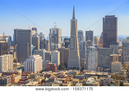 San Francisco skyline. Aerial view of Financial District and Transamerica Pyramid from top of Coit Tower on sunny day, California, United States. Coit Tower is atop Telegraph Hill.
