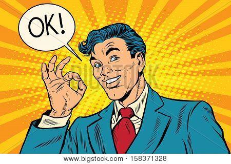 Joyful businessman OK gesture, pop art retro vector illustration