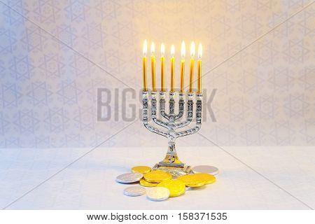 Jewish Holiday Hannukah Symbols - Menorah, Donuts, Chocolate Coins