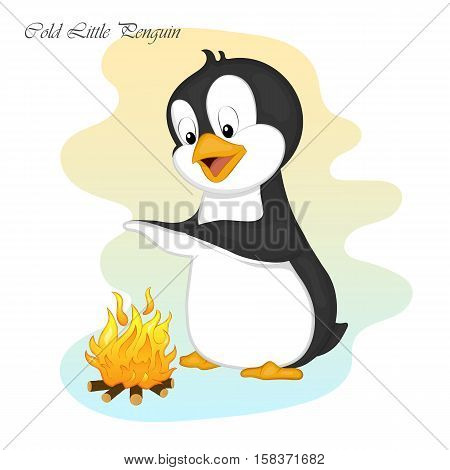 Funny and cute cold little penguin make a fire. Merry Christmas and Happy New year card. Christmas card in cartoon style. Vector illustration. New Year Collection.