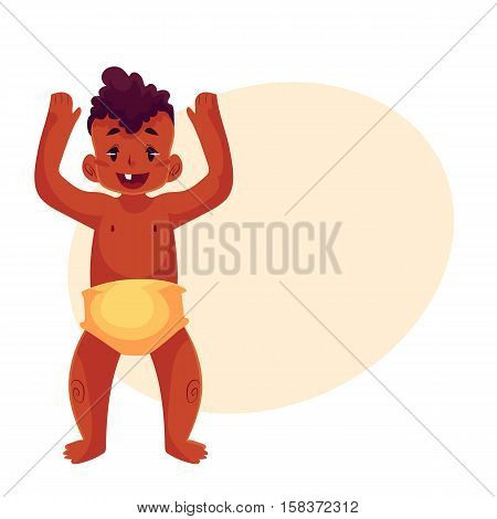 Cute little black baby boy dancing happily, cartoon vector illustrations isolated on yellow background. Little african boy, kid, child, baby, infant dancing from happiness with raised hands