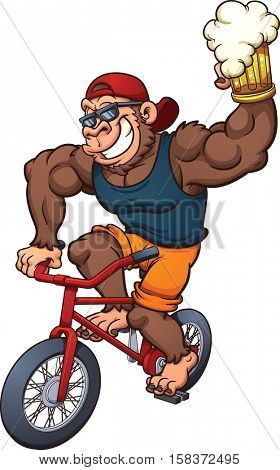 Carton gorilla holding a beer and riding a bicycle. Vector clip art illustration with simple gradients. All in a single layer.