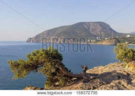 View of the Ayu-Dag mountain with a rocky ledge Cape Plaka. Crimea. Russia.