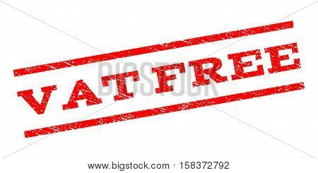 Vat Free watermark stamp. Text tag between parallel lines with grunge design style. Rubber seal stamp with unclean texture. Vector red color ink imprint on a white background.