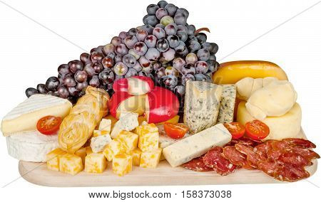 Cheeses, Cherry Tomatoes, Grape, Meat and Bread on the Wooden Platter - Isolated