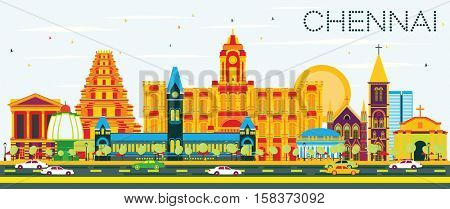 Chennai Skyline with Color Landmarks and Blue Sky. Business Travel and Tourism Concept with Historic Architecture. Image for Presentation Banner Placard and Web Site.