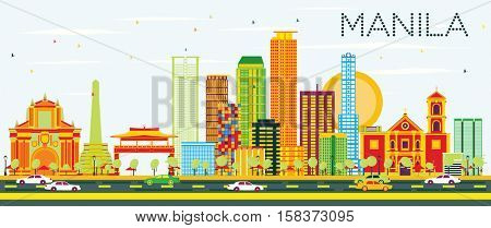 Manila Skyline with Color Buildings and Blue Sky. Business Travel and Tourism Concept with Modern Architecture. Image for Presentation Banner Placard and Web Site.