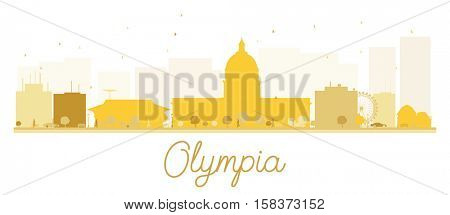 Olympia City skyline golden silhouette. Simple flat concept for tourism presentation, banner, placard or web site. Business travel concept. Cityscape with landmarks