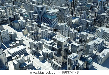 Top view of the city.,3d render